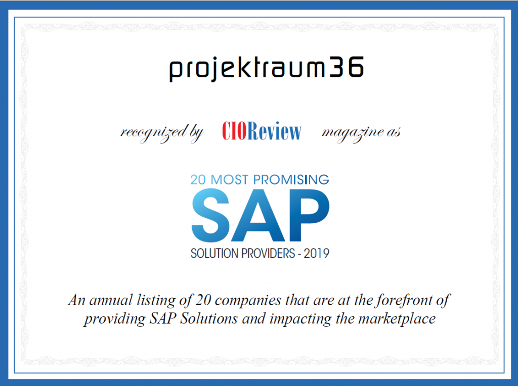 projektraum36 as one of the 20 most promising SAP Solution Providers in 2019