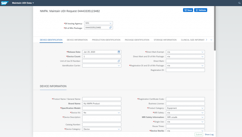 Screenshot of Data governance process for NMPA within UDI Platform
