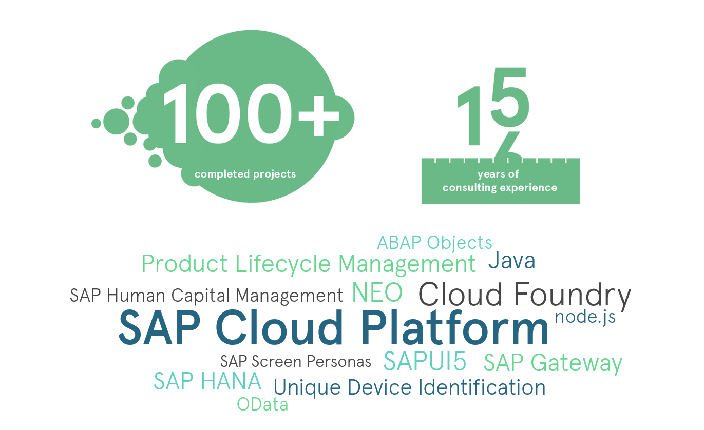 Our core competencies include the areas of Software architecture, design and development of SAP Cloud-based solutions.
