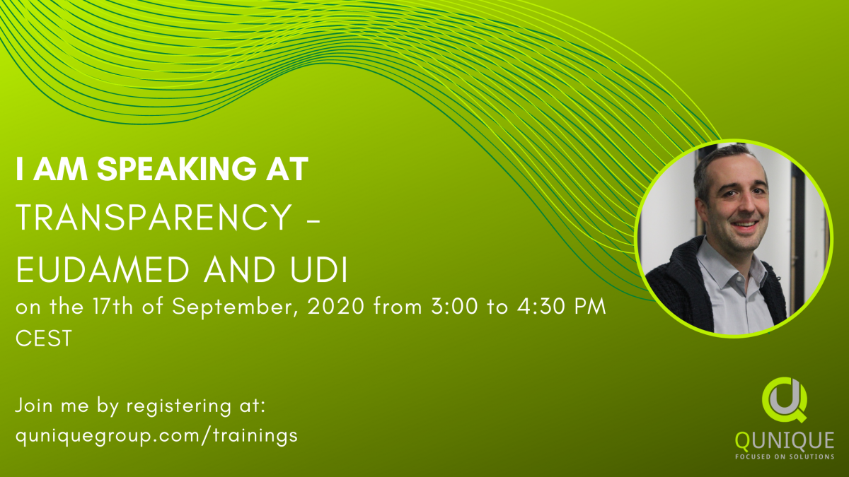 """Webinar """"Transparency - EUDAMED and UDI"""" with QUNIQUE"""