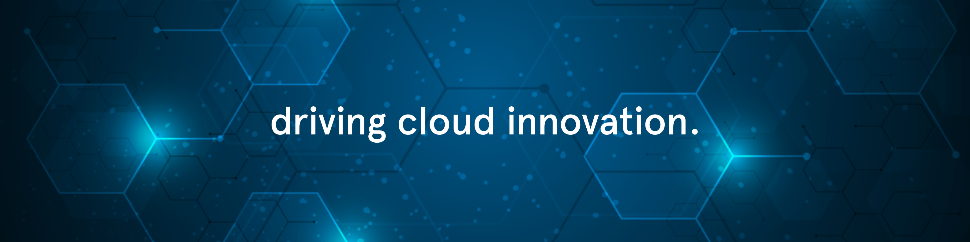 Header image with claim driving cloud innovation.